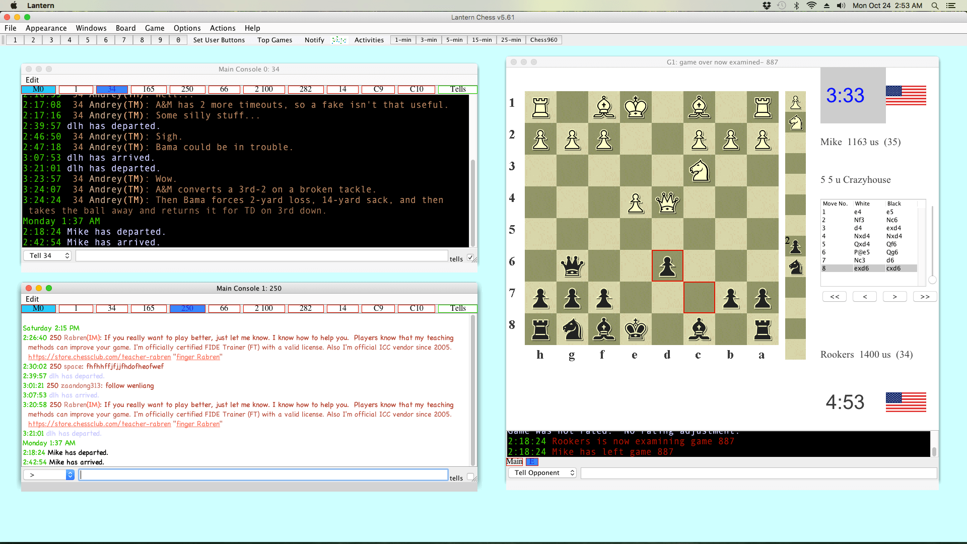 Lantern Chess Interface for Chessclub com