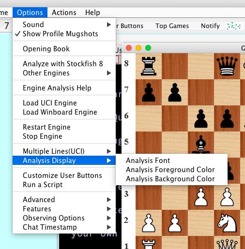 Chess Engine Analysis in Lantern Interface to Chessclub com